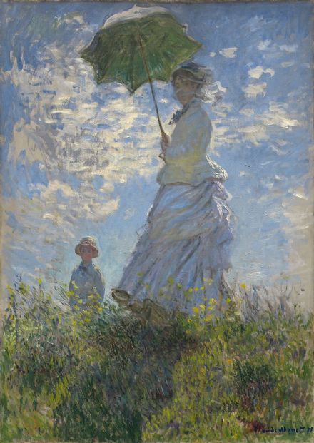 Monet, Claude: Woman with a Parasol - Madame Monet and Her Son. Fine Art Print.  (003556)